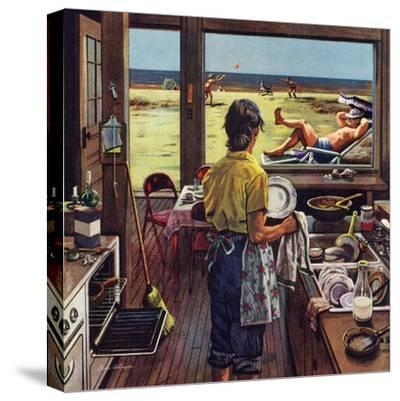 """Doing Dishes at the Beach"", July 19, 1952"