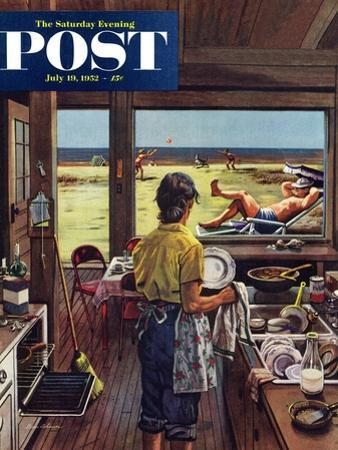 """""""Doing Dishes at the Beach"""" Saturday Evening Post Cover, July 19, 1952 by Stevan Dohanos"""