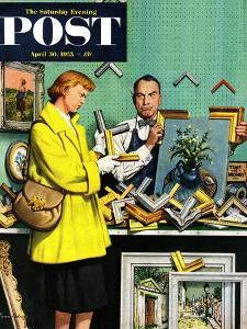 """Frame-Up"" Saturday Evening Post Cover, April 30, 1955 by Stevan Dohanos"