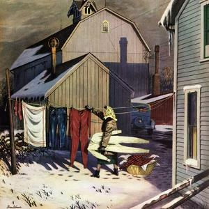 """""""Frozen Laundry"""", March 8, 1952 by Stevan Dohanos"""