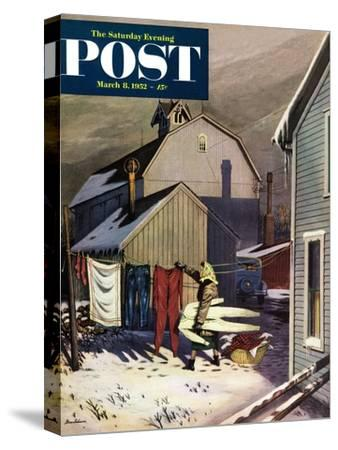 """Frozen Laundry"" Saturday Evening Post Cover, March 8, 1952"