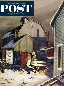 """Frozen Laundry"" Saturday Evening Post Cover, March 8, 1952 by Stevan Dohanos"