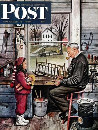 """Grandpa's Workshop,"" Saturday Evening Post Cover, November 12, 1949"