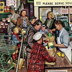 """""""Grocery LIne,"""" November 13, 1948 by Stevan Dohanos"""