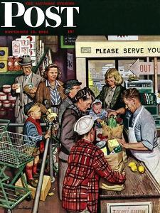 """""""Grocery LIne,"""" Saturday Evening Post Cover, November 13, 1948 by Stevan Dohanos"""