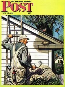 """""""Housepainter and Bird's Nest,"""" Saturday Evening Post Cover, May 12, 1945 by Stevan Dohanos"""