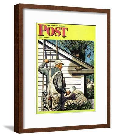 """Housepainter and Bird's Nest,"" Saturday Evening Post Cover, May 12, 1945"