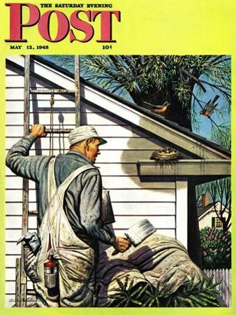"""""""Housepainter and Bird's Nest,"""" Saturday Evening Post Cover, May 12, 1945"""
