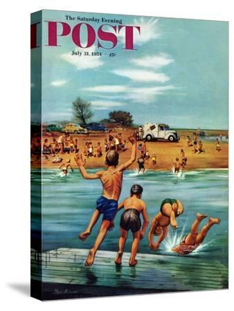"""Ice Cream Truck at the Beach"" Saturday Evening Post Cover, July 31, 1954"