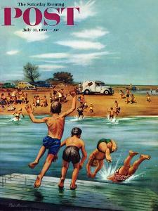 """Ice Cream Truck at the Beach"" Saturday Evening Post Cover, July 31, 1954 by Stevan Dohanos"