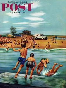 """""""Ice Cream Truck at the Beach"""" Saturday Evening Post Cover, July 31, 1954 by Stevan Dohanos"""