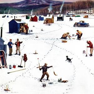"""Ice Fishing Camp"", January 12, 1957 by Stevan Dohanos"