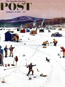 """""""Ice Fishing Camp"""" Saturday Evening Post Cover, January 12, 1957 by Stevan Dohanos"""