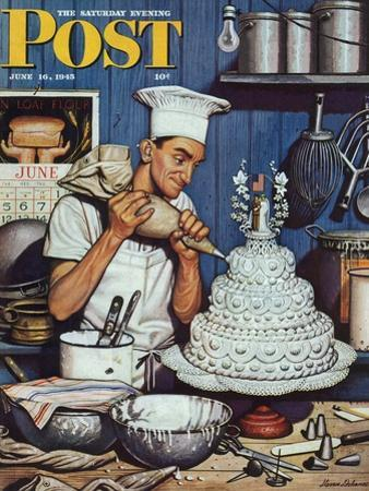 """""""Icing the Wedding Cake,"""" Saturday Evening Post Cover, June 16, 1945"""