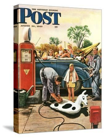"""Inflating Beach Toy,"" Saturday Evening Post Cover, August 20, 1949"