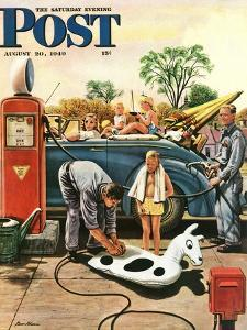 """""""Inflating Beach Toy,"""" Saturday Evening Post Cover, August 20, 1949 by Stevan Dohanos"""