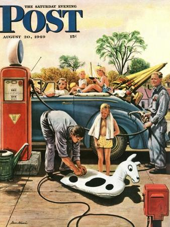 """Inflating Beach Toy,"" Saturday Evening Post Cover, August 20, 1949 by Stevan Dohanos"