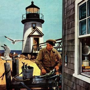 """Lighthouse Keeper"", June 26, 1954 by Stevan Dohanos"