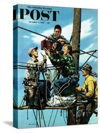 """Linemen Listen to World Series"" Saturday Evening Post Cover, October 4, 1952"