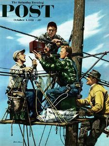 """Linemen Listen to World Series"" Saturday Evening Post Cover, October 4, 1952 by Stevan Dohanos"