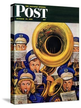 """March Band at Football Game,"" Saturday Evening Post Cover, October 19, 1946"