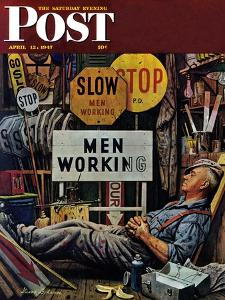 """""""Men Working,"""" Saturday Evening Post Cover, April 12, 1947 by Stevan Dohanos"""