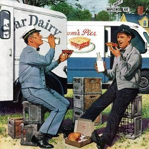 """Milkman Meets Pieman"", October 11, 1958 by Stevan Dohanos"