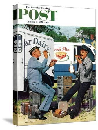 """Milkman Meets Pieman"" Saturday Evening Post Cover, October 11, 1958"