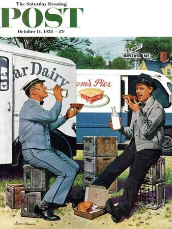 """Milkman Meets Pieman"" Saturday Evening Post Cover, October 11, 1958"