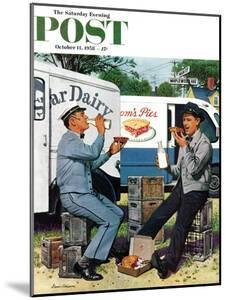 """Milkman Meets Pieman"" Saturday Evening Post Cover, October 11, 1958 by Stevan Dohanos"
