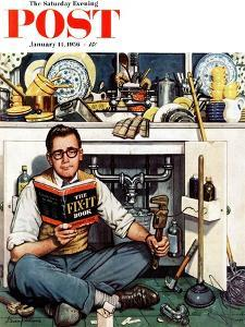 """""""Mr. Fix-It"""" Saturday Evening Post Cover, January 14, 1956 by Stevan Dohanos"""