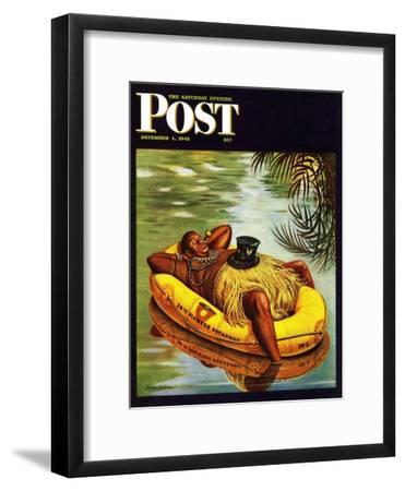 """Native in Army Raft,"" Saturday Evening Post Cover, December 1, 1945"