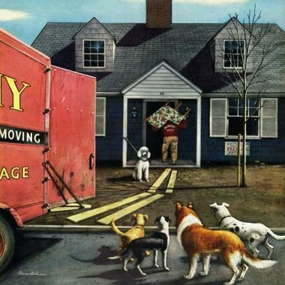 """""""New Dog in Town"""", March 21, 1953 by Stevan Dohanos"""