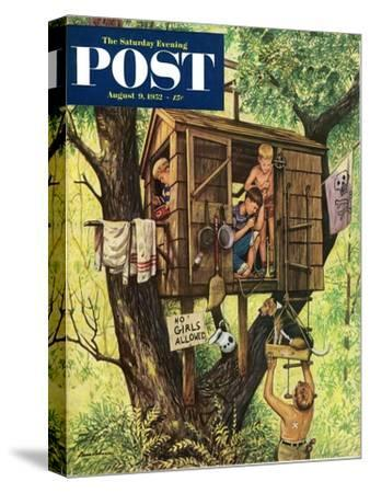 """""""No Girls Allowed"""" Saturday Evening Post Cover, August 9, 1952"""