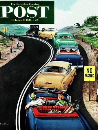 """""""No Passing"""" Saturday Evening Post Cover, October 9, 1954 by Stevan Dohanos"""