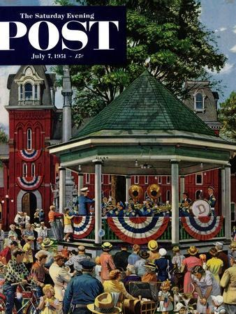 """""""Patriotic Band Concert"""" Saturday Evening Post Cover, July 7, 1951"""