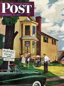 """""""Picking a Puppy"""" Saturday Evening Post Cover, September 30, 1950 by Stevan Dohanos"""
