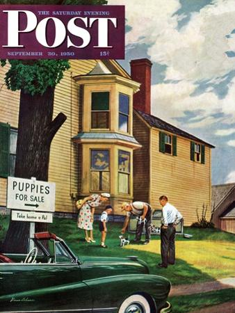 """Picking a Puppy"" Saturday Evening Post Cover, September 30, 1950"
