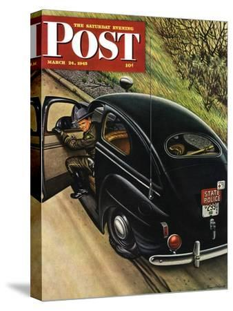 """Policeman with Flat Tire,"" Saturday Evening Post Cover, March 24, 1945"