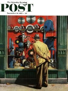 """Power Tool Window Shopping"" Saturday Evening Post Cover, November 10, 1951 by Stevan Dohanos"