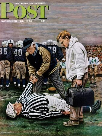 """""""Ref Out Cold"""" Saturday Evening Post Cover, November 25, 1950"""
