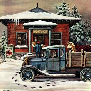 """Rural Post Office at Christmas,"" December 13, 1947 by Stevan Dohanos"