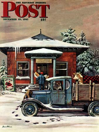"""""""Rural Post Office at Christmas,"""" Saturday Evening Post Cover, December 13, 1947"""