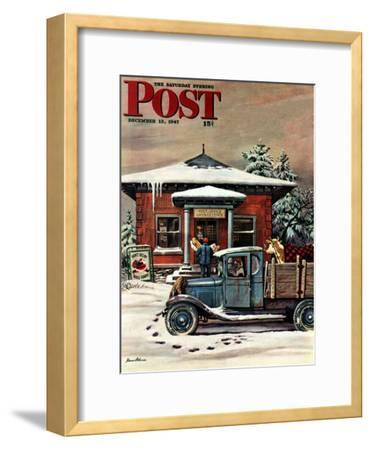 """Rural Post Office at Christmas,"" Saturday Evening Post Cover, December 13, 1947"