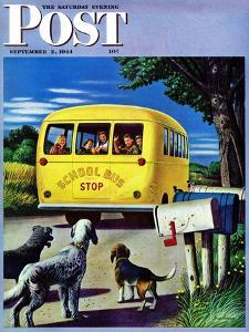 """School Bus,"" Saturday Evening Post Cover, September 2, 1944 by Stevan Dohanos"