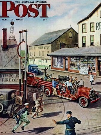 """""""Small Town Fire Company,"""" Saturday Evening Post Cover, May 14, 1949"""