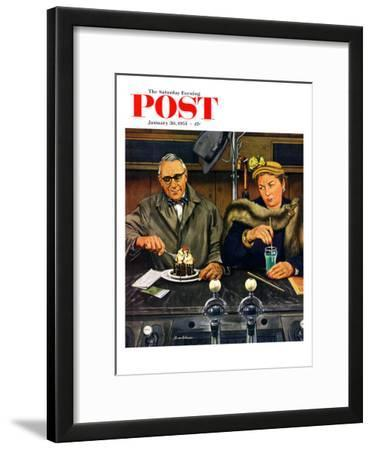 """""""Soda Fountain Dieter"""" Saturday Evening Post Cover, January 30, 1954"""