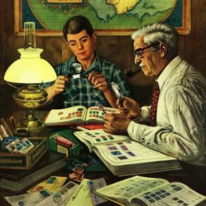 """""""Stamp Collecting"""", February 27, 1954 by Stevan Dohanos"""