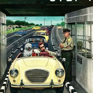 """""""Stop and Pay Toll"""", April 7, 1956 by Stevan Dohanos"""