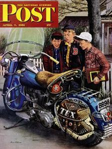 """""""Tex's Motorcycle"""" Saturday Evening Post Cover, April 7, 1951 by Stevan Dohanos"""